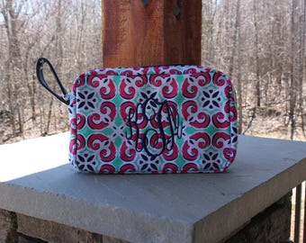 Personalized Floral Tile Cosmetic Case Monogrammed Makeup Bag Mint Pink