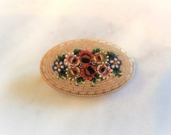 Vintage Gold Toned Detailed Floral Bouquet Micro Mosaic Brooch