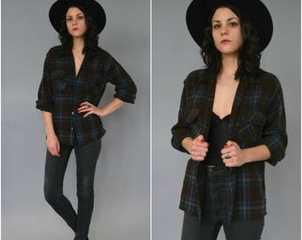 1970s brown and blue wool plaid button down oxford