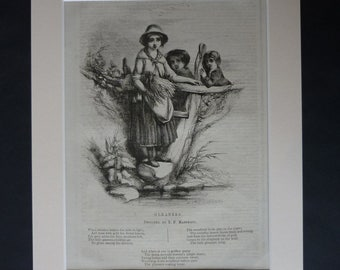 1840s Antique Gleaning Print, Available Framed, Gleaner Art, Agriculutral Poem Decor, Rural Poetry Gift, Rustic Illustration Peasant Picture