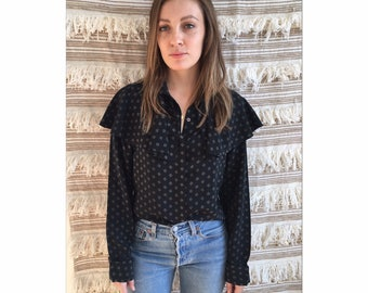 Vintage Calvin Klein Black and Taupe Blouse with Ruffle Collar