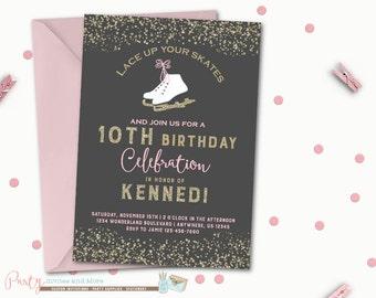 Ice Skate Birthday Invitation, Ice Skating Invitation, Ice Skating Birthday Invitation, Skating Invitation, Skating Birthday Invitation