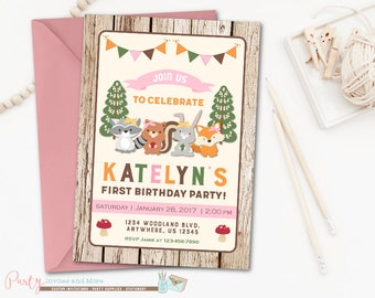 Woodland Birthday Invitation, Woodland Invitation, Forest Critters, Woodland Girl Invitation, Woodland Girl Birthday Invitation, Woodland