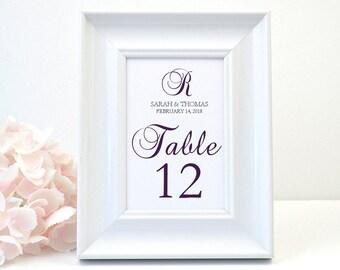 PRINTED Elegant  Wedding Table Number, Black, Modern, Elegant, Script, Calligraphy, Purple, Modern, Monogram, DONNA Design