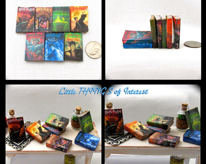 1:6 Scale HARRY POTTER Set of 7 Prop Books Miniature Book Play Scale Books Faux Books