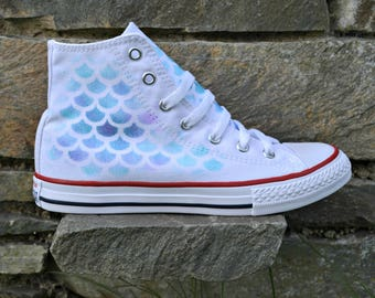 White Mermaid Shoes, Mermaid Converse, Mermaid Shoes, Little Mermaid, Mermaid Gift, Mermaid Cosplay, Mermaid Sneakers, Mermaid Tail