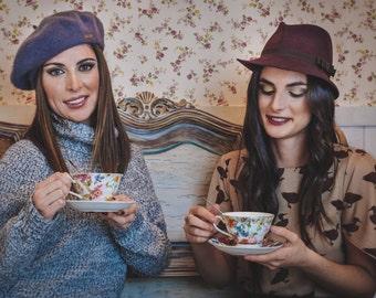 Woman trilby hat - Felt trilby hat - Maroon hat - Woman winter hat - Burgundy felt hat