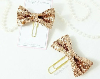 Rose Gold Glitter Bow Planner Clip - Glittered Bow Clip, Planner Accessories, Page Markers, use with Happy Planner, Erin Condren, Kikki K