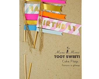Toot Sweet Cake Flags | Meri Meri | Cake Topper | Cake Decoration | Birthday Cake Topper | Food Flags | Meri Meri Cake Flags