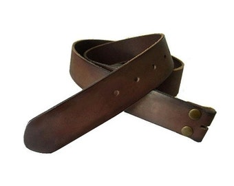 Distressed Dark Brown Leather Snap Belt Strap for Belt buckles - Men's - Women's - Brass Snaps - Removable - Genuine Cow Hide