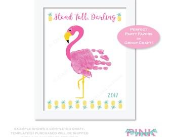 Flamingo Hand Print Art - Printed Craft Template Set - Party Favor Activity Game Children's Craft Pink Girls Decor Handprint Kids DIY craft