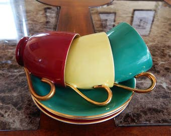 Antique Demitasse Cups & Saucers Zeh Scherzer Bavaria Germany Set of 3 Red Green Yellow Gold Gilded, Antique Cabinet Cups, Bavarian China