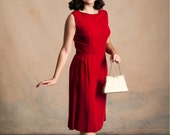 Vintage 1950s/60s red velvet wiggle dress / boat neck / hourglass / bombshell / pinup / size M