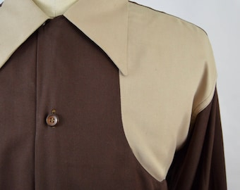 Vintage 1950s 2 Tone Tan and Brown Rayon Gabardine Shirt by B.V.D. Brand Size Large