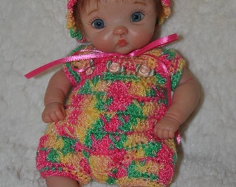 """Crocheted romper for your ooak 7"""" mini sculpted clay baby"""