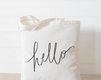 Hello Tote Bag, present, housewarming gift, wedding favor, bridesmaid gift, women's gift