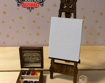 1/12 scale REAL WORKING watercolor victorian dollhouse miniature set for art room, studio, CHOOSE set or paints and mini brush only, easel