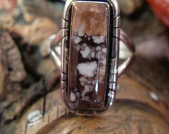 Signed JK Sterling Silver  Wild Horse Magnesite Native American Ring Size 6.5