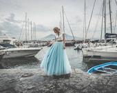 Sky blue floor length tulle skirt, 50s tulle skirt, tulle bridal skirt, long tulle prom skirt, tulle bridesmaid skirt, tulle wedding skirt