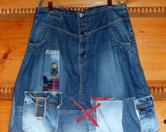 L  denim boro  patchwork appliqued recycled knee skirt hippie boho style