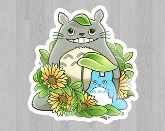 My Neighbor Totoro Sticker - sunflowers cute Studio Ghibli inspired design