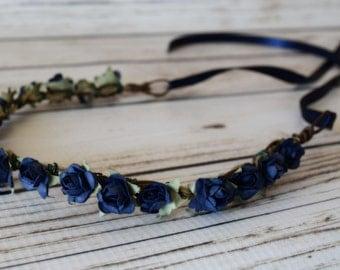ON SALE Hand Crafted Navy Blue Flower Crown - Flower Girl Halo - Navy Flower Wreath - Navy Wedding Accessory - Renaissance Flower Crown - Wo