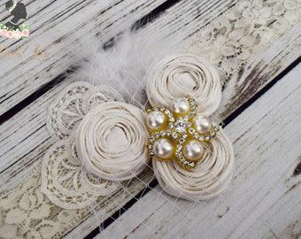 ON SALE Handcrafted Dupioni Silk Rose Headband - Vintage Veiling Accessory - Cream Bridal Headband - Ivory Roaring 20s Headpiece - Feather H