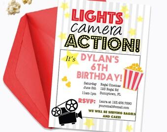 Movie Theater Birthday Invitation/ Printable Movie Night Invitation / Kid's Movie Birthday Party