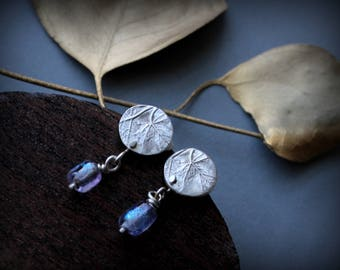 reclaimed sterling silver maple leaf studs with handmade dichroic glass beads