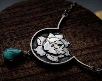 Handmade Sterling Silver Peony Flower Necklace With Turquoise on Sterling Chain