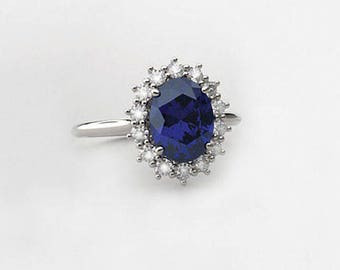 White Gold Sapphire Ring / Blue Sapphire Ring Gold with Diamonds / SOLID White Gold Ring