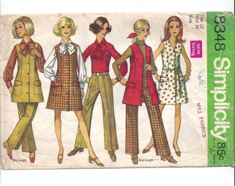 Simplicity 8348 Pattern for Misses' Dress, Jumper, Blouse, Hip-Hugger Pants, Size 12 From 1969, Vintage Pattern, Home Sewing Pattern