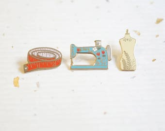 Color Set of 3 Pins - Sewing Set Enamel Pins // Hard Enamel - Enamel Pin - Pin - Lapel Pin - Flair - Brooch - Collar Pin - Justine Gilbuena