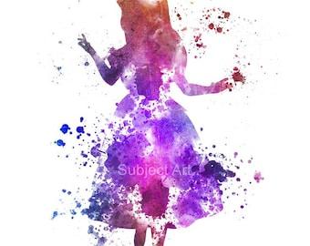 Alice in Wonderland ART PRINT illustration, Disney, Fantasy, Mixed Media, Home Decor, Nursery, Kid