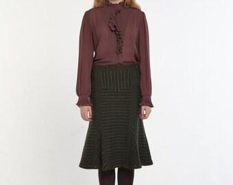 Wool Stripe Mermaid Skirt_KHAKI