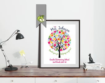 Teacher Tree Personalized, Rainbow tree, Teacher Appreciation Gift, End of year, Personalized, Custom, DIY printable, class gift, thanks