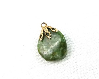 Vintage Jade Pendant, Raw Stone Pendant, Green Jade Necklace Stone, Natural Stone Jewelry, Southwest Jewelry, Gift for Her, Vintage Style