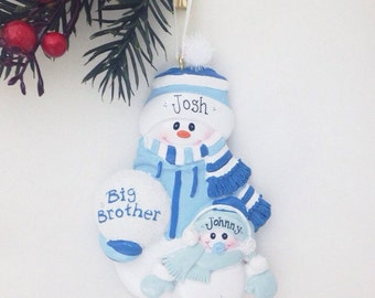 Big Brother Little Brother Personalized Christmas Ornament - Sibling Ornament - Snowman Ornament - New Baby Ornament