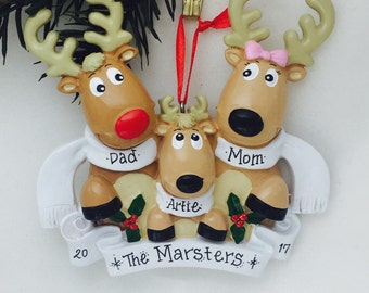 Personalized family ornament - Family of 3 Reindeer with Scarves - Reindeer Ornament - Personalized Christmas Ornament