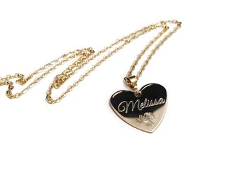 Rose Name Necklace, Valentine Gift, 14k Gold Filled Heart Necklace, Heart Necklace For Her, Engraved Necklace