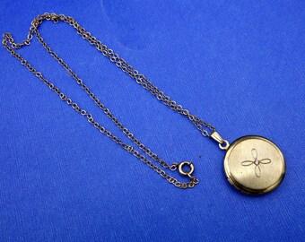 Vintage gold Filled Locket, Round Gold Locket, Crystal Rhinestone