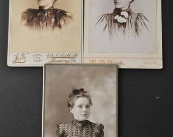 Lot of Three Victorian Ladies Cabinet Cards Portraits
