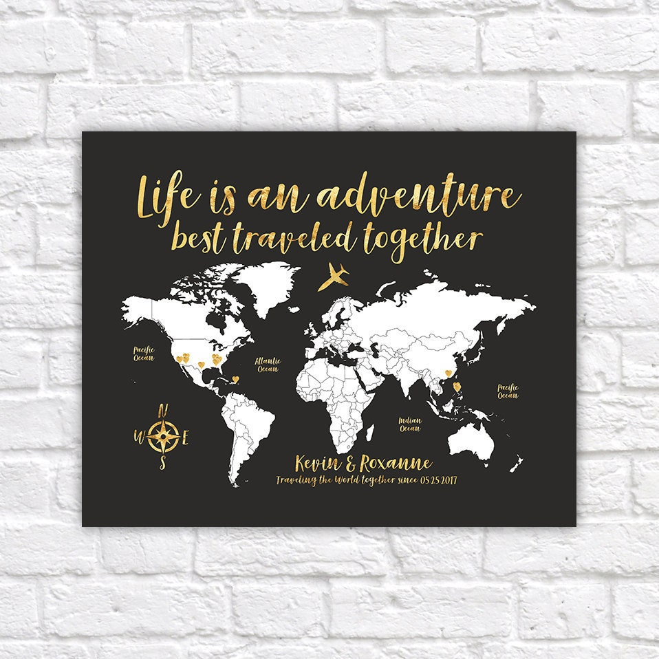 World map travel poster gold travel map travel quote life is an world map travel poster gold travel map travel quote life is an adventure personalize gift travel destination map personalise wf555 publicscrutiny Gallery