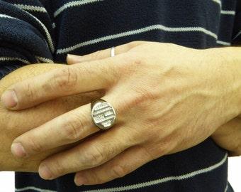 Men monogram ring. College ring. Initials ring. Silver monogram ring. Men initial band. Mens initial ring. Engraved silver ring. Circle ring