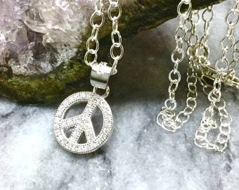 Peace Necklace Sterling Silver Peace Pendant CZ Necklace Diamond Pendant CZ Peace Sign Charm Cubic Zirconia