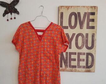 Vintage 1960s Mini Dress , Geometric Dress , Bohemian Summer Dress, Cotton,  Size 8