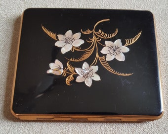 Square pocket mirror /inlaid mother of pearl / vintage compact/ mirror in case/ gold finish/ purse accessories/made in france
