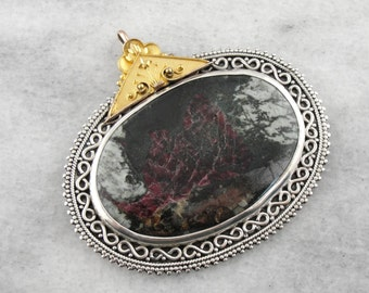 Huge Mixed Metal Ruby Zoisite Pendant H2LKHA-R