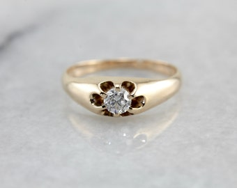 Sweet Belcher Set Diamond Solitaire Ring in Yellow Gold 3NEWMM-R