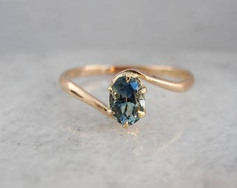 Vintage Sapphire Solitaire, Rose Gold Bypass Ring, Montana Sapphire Ring WF9EAW-R